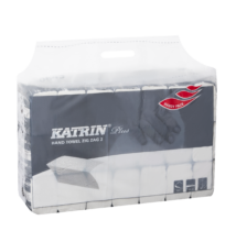 KATRIN 100645 Plus hajtott kéztörlő, 2 rétegű, hófehér KIFUTOTT TERMÉK! Új cikkszám: KAT35311