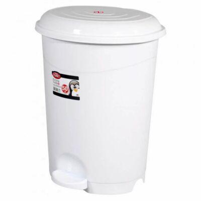 Szemetes kuka, pedálos, műanyag, fehér, kivehető kosárral, 50 literes
