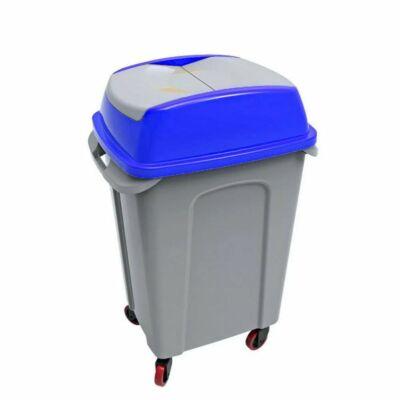 Hippo billenőfedeles szelektív  hulladékgyűjtő, műanyag, szürke/kék, 70 literes
