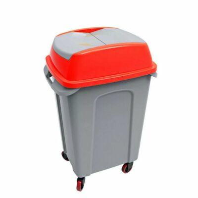 Hippo billenőfedeles szelektív  hulladékgyűjtő, műanyag, szürke/piros, 50 literes