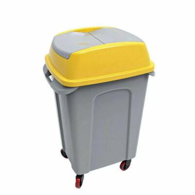 Hippo billenőfedeles szelektív  hulladékgyűjtő, műanyag, szürke/sárga, 50 literes