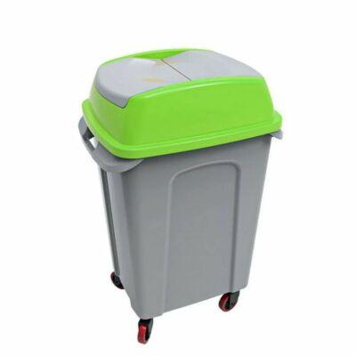 Hippo billenőfedeles szelektív  hulladékgyűjtő, műanyag, szürke/zöld, 50 literes